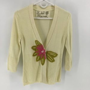 Anthropologie Field Flower Cardigan 3/4 Sleeve Top
